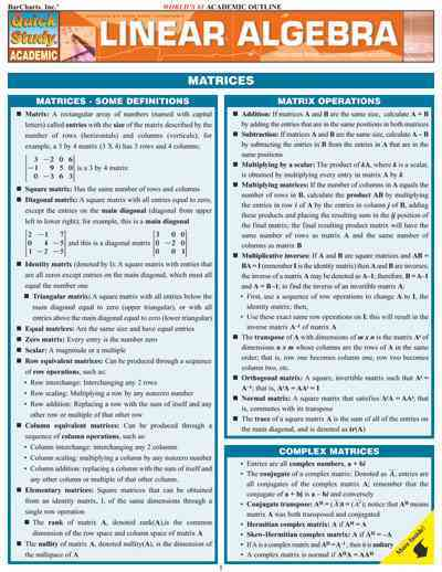 Linear Algebra Laminated Reference Guide By Barcharts, Inc. (COM)